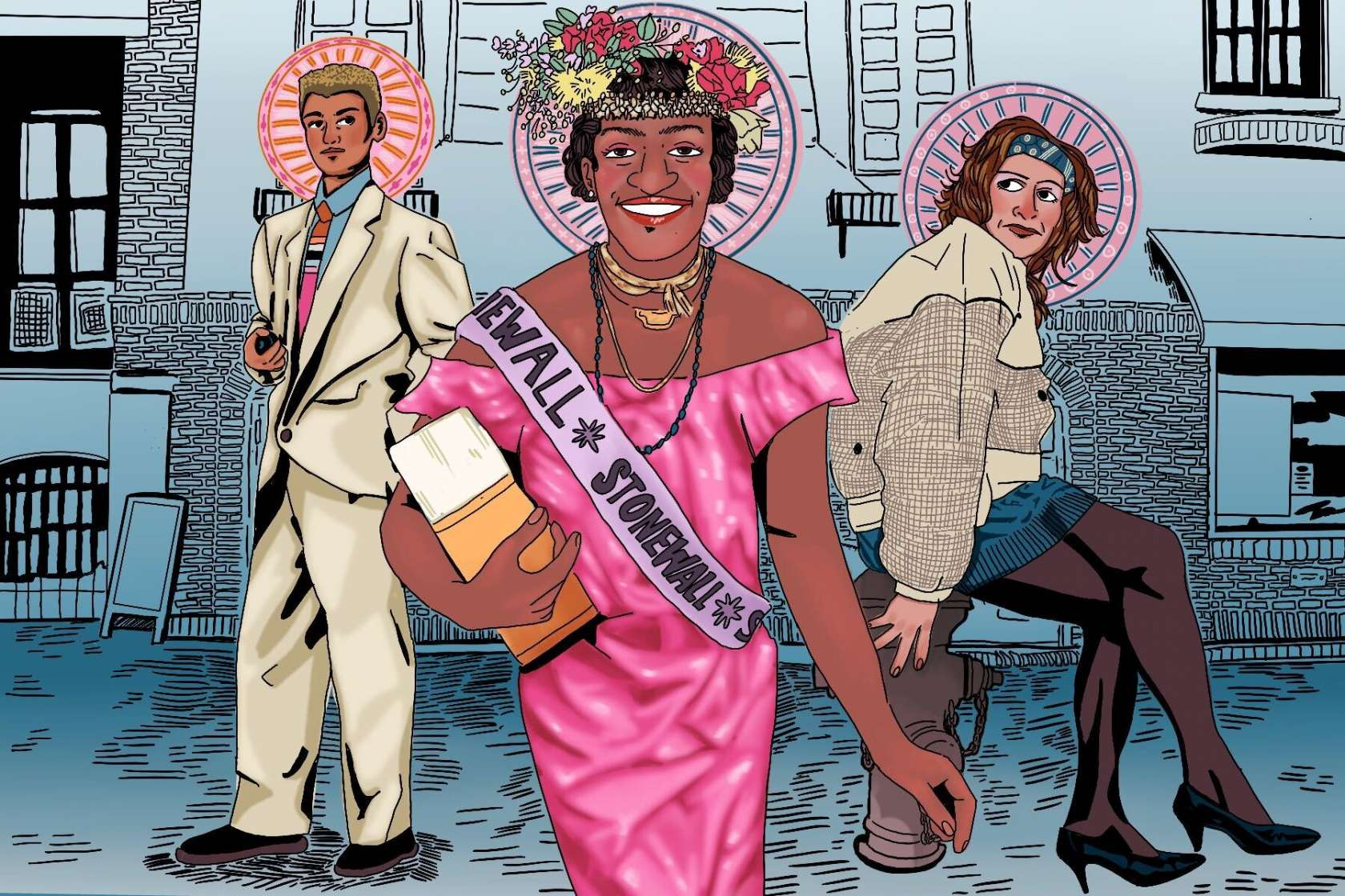 (L to R) Stormé DeLarverie, Marsha P. Johnson, and Sylvia Rivera